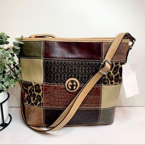 Giani Bernini Patchwork Multi Crossbody Bag Brown